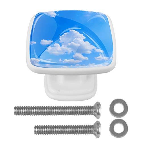 Manopole quadrate per armadio da cucina, 4 pezzi, maniglie per cassetti con elementi di fissaggio a nuvole bianche e cielo blu