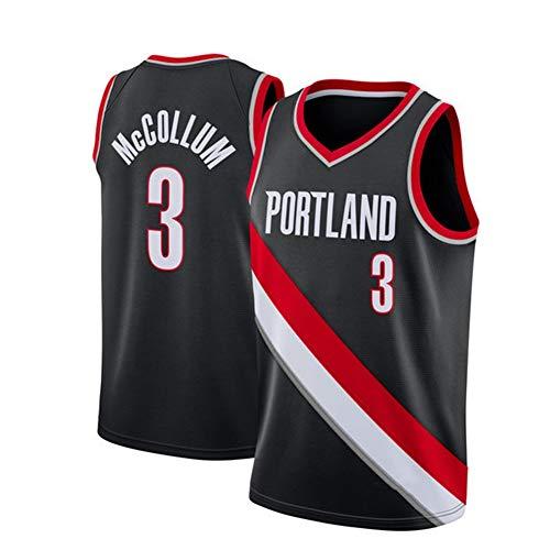 YUNAN Camiseta de baloncesto Portland Trail Blazers # 3 C.J. McCollum New Season Swingman Uniforme, unisex sin mangas, para ejercicio y uso casual, negro-S