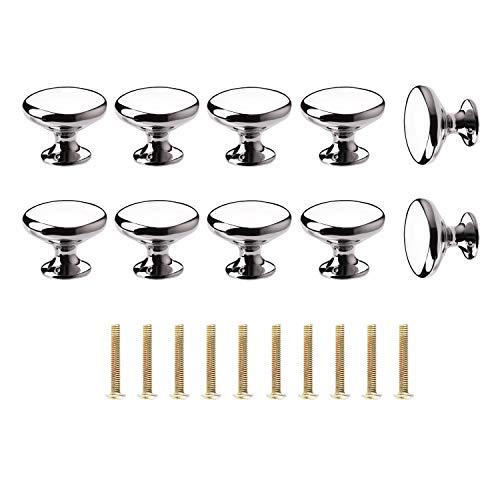 ShipeeKin 10x cromo lucido cabinet Hardware Round Mushroom porta manopola pomello per armadietti, armadi, guardaroba, armadi, cassetti, camera da letto, bagno mensole mobili (dia. 30 mm/argento)