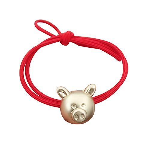 Homeofying Lot de 5 bracelets à cheveux style chinois avec cordon élastique rouge et porte-bonheur.