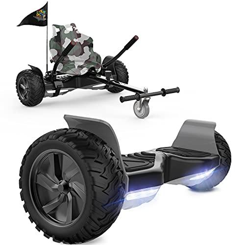 FUNDOT Hoverboards con Asiento, Hoverboards Todoterreno con Hoverkart, Patinete Eléctrico Autoequilibrado de 8.5 Pulgadas, Kart, Hoverboards Todoterreno con Altavoz Bluetooth,LED