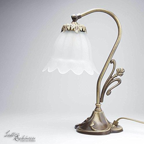 Tischlampe Echt-Messing Bronze Hell Floral Blumen Deko Glas Jugendstil Nachttischleuchte Schlafzimmer Wohnzimmer
