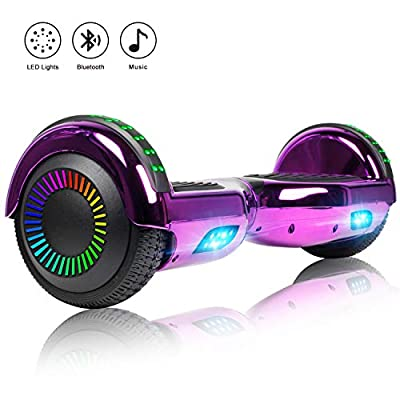 Felimoda 6.5 Inch Self Balancing Hoverboard, Two Wheels Hoverboard w/LED Light Built-in Wireless Speakers- UL2272 Certified (Chrome Purple)