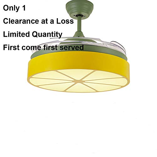 Huston Fan 42 Inches Orange Macarons Creative Stealth Ceiling Fan Lights With 4 Transparent Children's Bedroom Modern Simple Living Dining Home Remote Control Green Fan Chandelier Variable Light