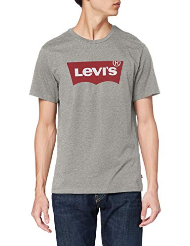 Levi's Set-in Neck T-Shirt, Graphic H215 Midtone Htr Grey, L Uomo