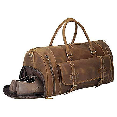 Retro nieuwe reistas, heren fitnesstas vrijetijds-speelruimte tas grote capaciteitsschouder diagonaal Bag, 15,6 inch hoofdlaag Crazy Horse lederen laptoptas