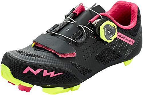Northwave Razer Damen MTB Fahrrad Schuhe schwarz/gelb/pink 2021: Größe: 41