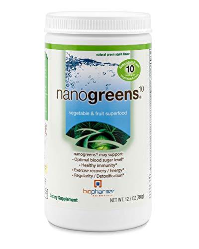 Biopharma Scientific NanoGreens Fruit and Vegetable Superfood Powder   Natural Green Apple Flavor   30 Servings   Spirulina, Chlorella, Kale, Spinach, Plant Based Enzymes.