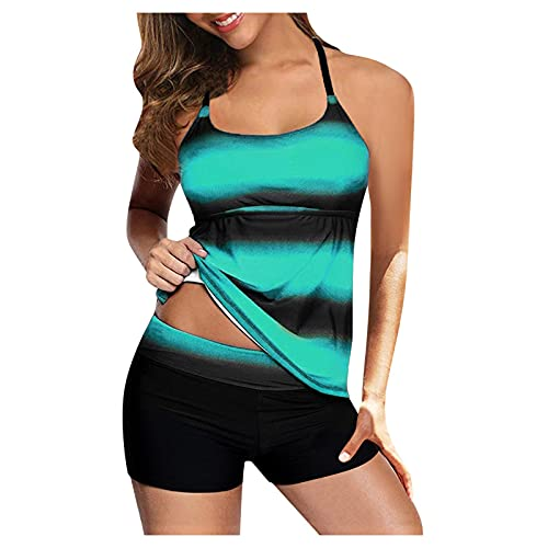 YHAIOGS Swimsuit Cover Ups for Teen Girls High Wasted Bikinis for Women Women Plus Size Print Strappy Back Tankini Set Two Piece Swimsuits Swimdress Green 05 XXXXL