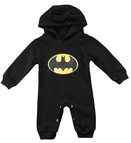 Säugling Kleinkind Jungen Mädchen Strampler Batman Bodysuit Overall Kleidung Outfits (Schwarz, 18-24m)