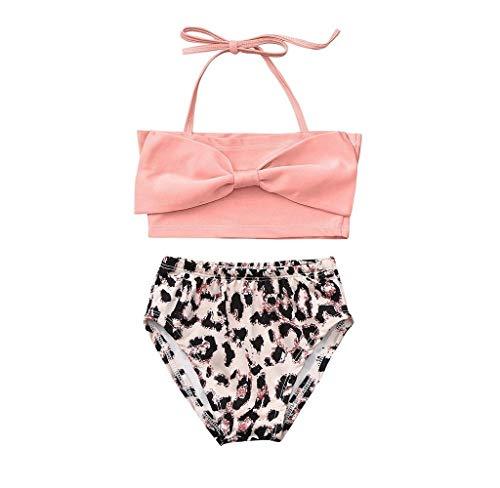 Jimmackey Neonato Ragazze Costume Bikini 2 Pezzi con Volant Mare Piscina Bowknot Bikini A Due Pezzi Costume da Bagno Leopard Print Pantaloncini