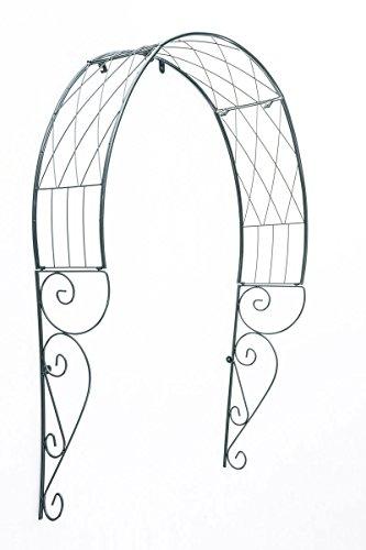 CLP Metall-Rosenbogen Für Die Tür I Rankbogen Mit Dunkelgrüner Beschichtung I Rankhilfe Für Kletterpflanzen I Verzierter Torbogen Im Landhaussti, Farbe:grün