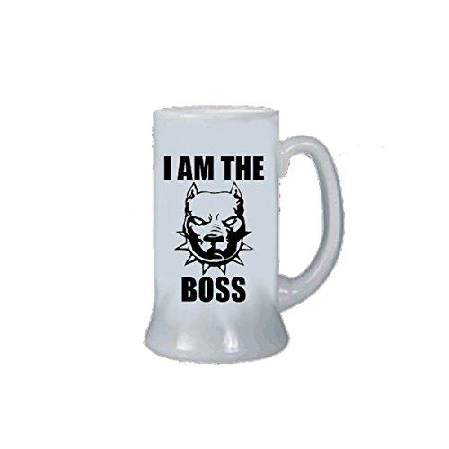 pazza idea Boccale Birra Bicchiere Uomo Donna con Scritta i am The Boss Cane Pitbull