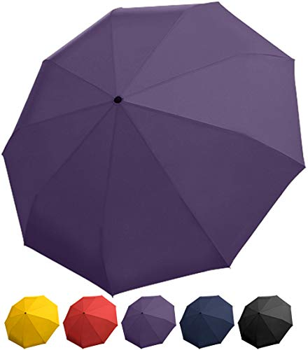 Purple Umbrella - Windproof Travel Umbrella with Teflon Coating, Collapsible and Compact Umbrella Perfect for Any Purse or Backpack