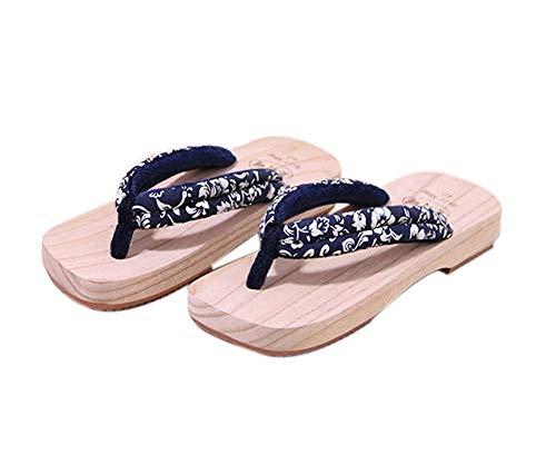 Zoccoli di legno giapponesi per sandali da uomo Giappone Flip-flop tradizionali Modello di viti blu Geta antiscivolo