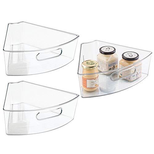 mDesign Lazy Susan Aufbewahrungsbehälter für Küchenschrank, Kunststoff, mit Griff vorne, mittelgroß, 1/6 Keil, 10,2 cm tief, 3 Stück, transparent