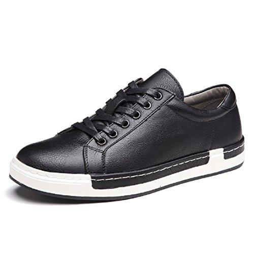 Homme Baskets à Lacets Casual Basses Chaussures en Cuir Travail Business Sneakers Sport Noir 42
