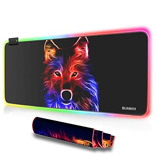 """BUANIIH RGB Gaming Mouse Pad Large (31.49"""" x 11.81"""" x 0.15""""), Extra Large Soft LED Extended Mouse Pad Computer Keyboard Mat,Durable Stitched Edges and Non-Slip Rubber Base"""