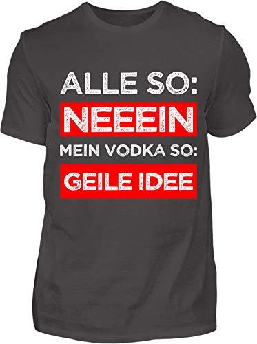 Kreisligahelden T-Shirt Herren Lustig Vodka Geile Idee - Kurzarm Shirt Baumwolle mit Spruch Aufdruck - Karneval Party Junggesellenabschied Fun Saufen Vodka (5XL, Anthrazit)