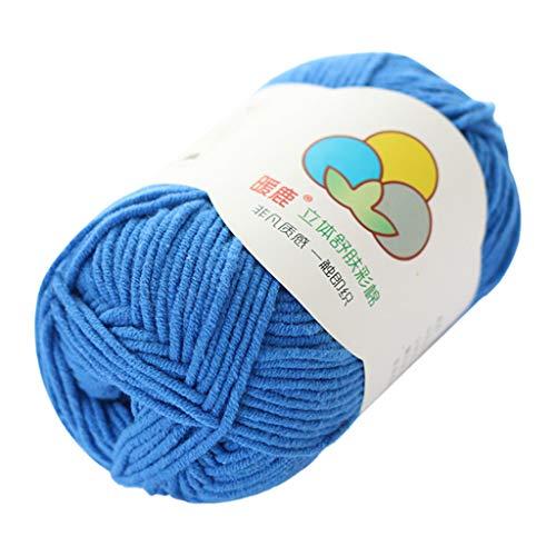 Janly Clearance Sale Lana tejida a mano, 5 hebras de algodón con leche, cálido y suave, tejido a mano, tejido de poliéster, para hacer ganchillo para matar tiempo y pasatiempos (azul)