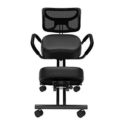DlandHome YKTH-EKC-B - Silla ergonómica para rodillas con cojines gruesos y cómodos para un asiento en ángulo para una mejor postura, silla de oficina en casa, silla de oficina