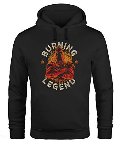 Neverless® Hoodie Herren Sparta Burning Legend Schriftzug Fashion Streetstyle Kapuzen-Pullover Männer schwarz XL