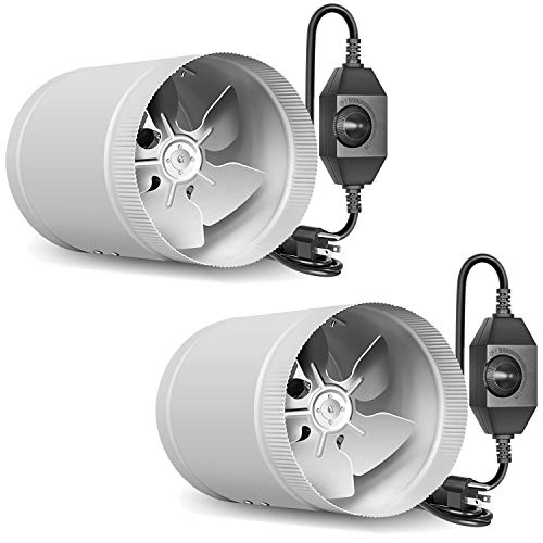 """iPower 2 Pack 4 Inch Ventilation Booster Fan with Speed Controller for Grow Tent, Basements, Workshops, HVAC Exhaust and Intake, 4"""", Silver"""