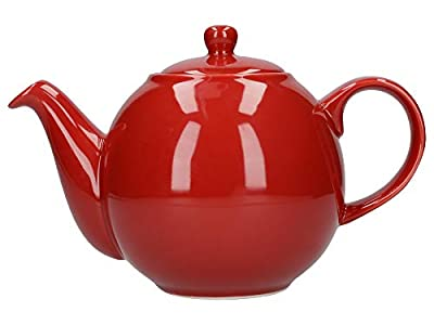 London Pottery Globe Teapot with Strainer, Ceramic, Red, 4 Cup Capacity (900 ml)