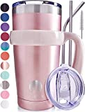ALBOR Triple Insulated Stainless Steel Tumbler 20 oz Glitter Rose Gold Coffee Travel Mug With Handle