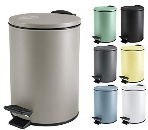 Spirella Kosmetikeimer 3 Liter Edelstahl mit Absenkautomatik und Inneneimer Adelar Badezimmer Mülleimer Softclose Abfalleimer Taupe