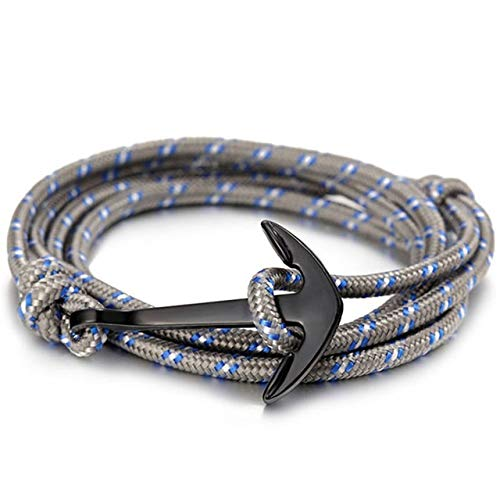 Pulseras para hombre, pulsera de ancla negra de moda, para hombre, cadena de cuerda de supervivencia, pulsera de amistad de cuero, joyería de hombres y mujeres (color de metal: 498)