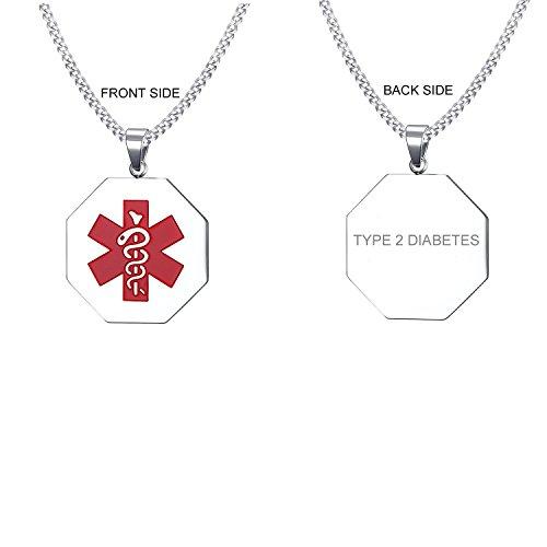 VNOX Type 2 Diabetes Medical Alert ID Stainless Steel Hexagonal Geometry Pendant Necklace for Men Women,24' Chain