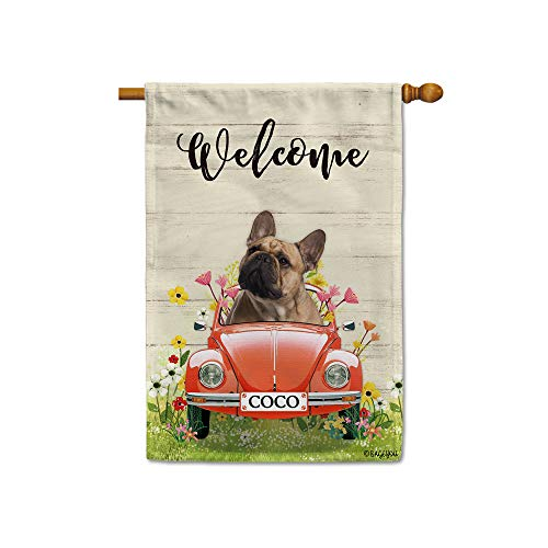 BAGEYOU Custom Name Welcome Spring Dog House Flag French Bulldog Driving a Vintage Car Summer Flowers and Lawn Decor Home Banner for Outside 28x40 Inch Print Both Sides