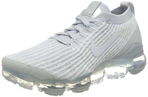 Nike Women's Air Vapormax Flyknit 3 Running Shoes, White/Platinum/Silver, 7