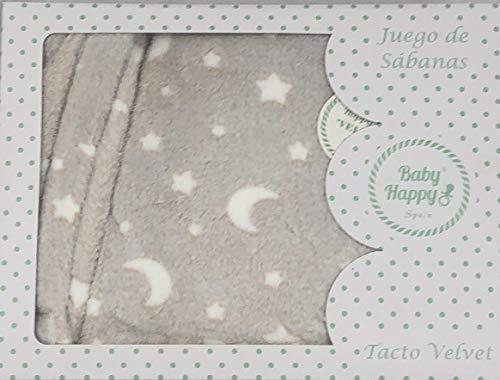 Sabanas invierno Velvet CUNA 60 x 120 cm (bajera+encimera+funda almohada) (Danielstore) (Firmamento gris)