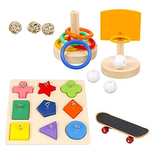 4 Stück Papageienspielzeug Papageien-Puzzle-Spielzeug zum Spielen von Papageien, Vogel Training Spielzeug Set, Kauspielzeug Vögel Spielzeug, Perfekt für Sittiche Nymphensittiche, Aras, Papageien