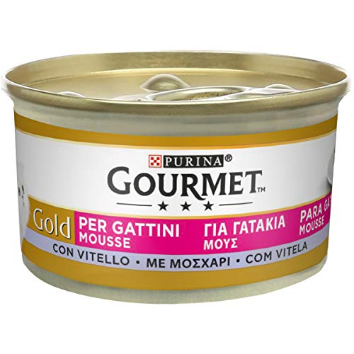 Purina Gourmet Gold Umido Gatto Mousse per Gattini con Vitello, 24 Lattine da 85 g Ciascuna,...