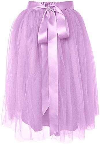 Dancina Women's Knee Length Tutu A Line Layered Tulle Skirt Regular (Size 2-18) Lavender