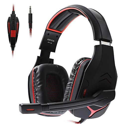 Anivia AH18 Over-Ear Stereo Gaming Headset with Mic for Xbox One Cotroller, PS4, Nintendo Switch, PC Computer, Noise Isolating Headphones with Mic, Bass Surround, Soft Memory Earmuffs