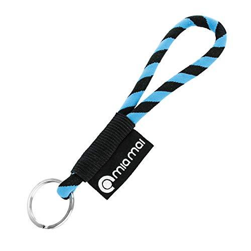 mia Mai Tubular Lanyard Schlüsselband (Blau/Schwarz, 15 cm), Schlüsselring Schlüsselanhänger