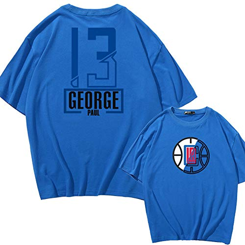 New Men Kid NBA T-Shirt, Los Angeles Clippers # 13 Paul George Camiseta De Manga Corta, Camiseta De Moda Juvenil Basketball Summer Sport Top,Azul,3XL
