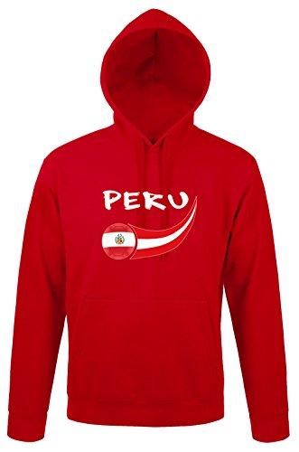 Supportershop Pérou Sudadera con Capucha, Rojo, Medium para Hombre