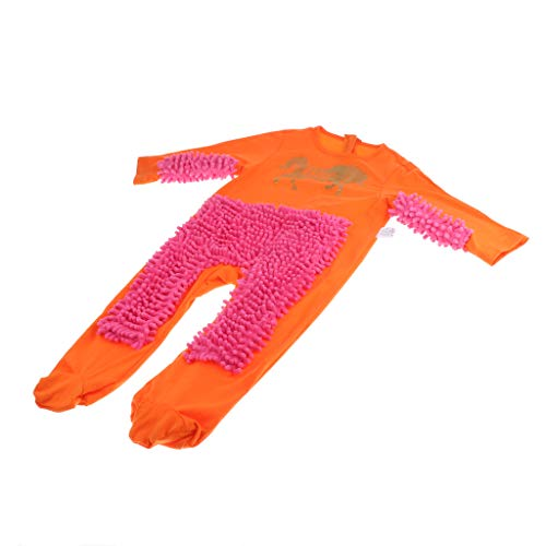 Injoyo Baby Kleidung Strampler Wischmop wischen Boden Overall Jumpsuit für täglich, Party oder Fotoshooting - Orange + Rosenrot, 73cm