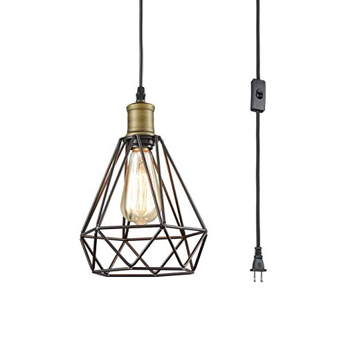 Farmhouse Plug in Pendant Light with On/Off Switch Wire Caged Hanging Pendant Lamp