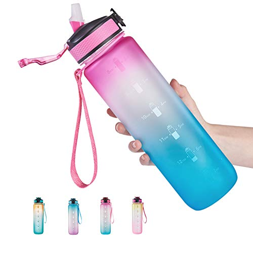 32 oz Water Bottle with Time Marker & Straw, Leakproof BPA Free Sports Water Bottle To Ensure You Drink Enough Water During Fitness and Outdoor Activities (Pink/Green Gradient)