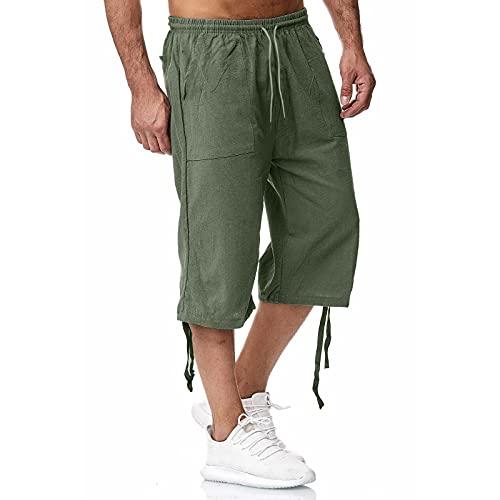 Pantalones de Lino de Algodón Para Hombre de Verano Pantalones deportivos de Color Sólido de Jogging Pantalones Sueltos Ocasionales Recortados de Algodón Para Hombre de Talla Grande
