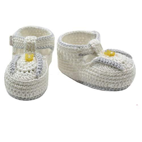 Mayoral Unisex Neugeborenen Baby-Häkel-Schuhe weiß mit Hasenknopf, Gr. 0 Monate (0 Monate)
