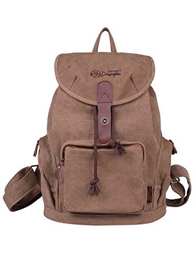 2. DGY - Moda mochila de lona y PU cuero E00117 - Una mochila sencilla y practica