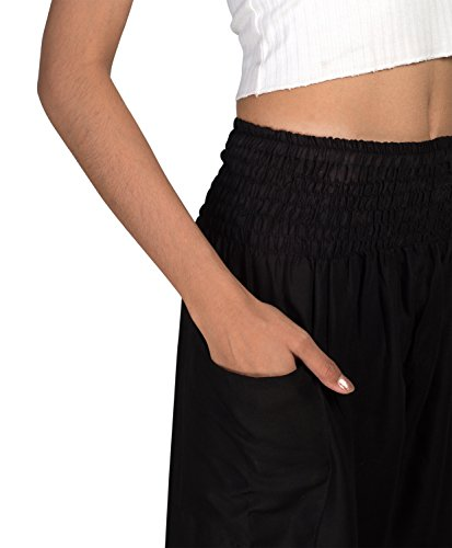 Joob Joob Women's Comfy Bohemian Harem Loose Yoga Pants Casual Hippie Pajama Lounge Boho Elephant Pajama Pants Jet Black