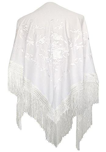 La Señorita Mantones bordados Flamenco Manton de Manila blanco flores blanco